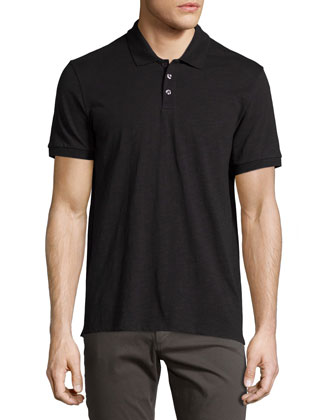Slub Polo Shirt, Black