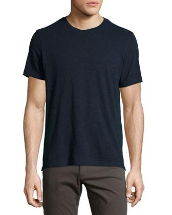Slub Crewneck T-Shirt, Navy