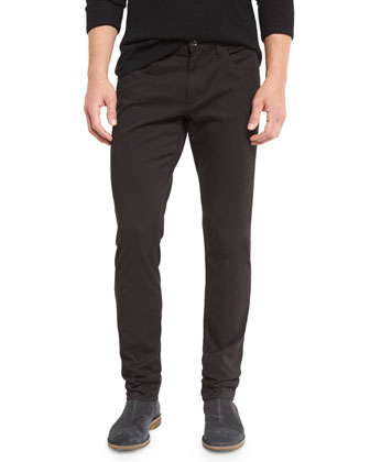 Essential Five-Pocket Stretch-Twill Pants, Black