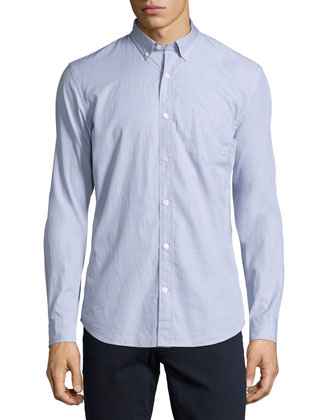 Solid End-on-End Woven Shirt, Gray