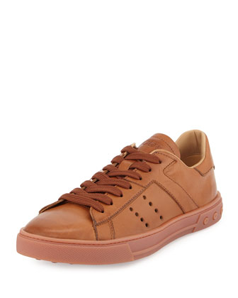Leather Lace-Up Sport Sneaker, Light Brown