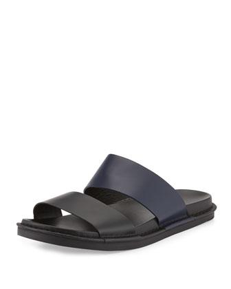 Wyatt Leather Slide Sandal, Black/Blue