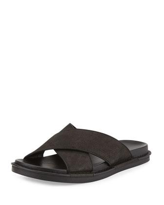 Crisscross Leather Slide Sandal, black