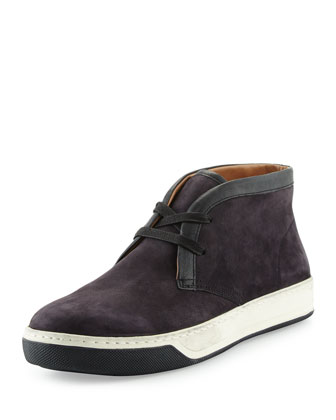 Abe 2 Suede Chukka Sneaker with Leather Trim, Navy