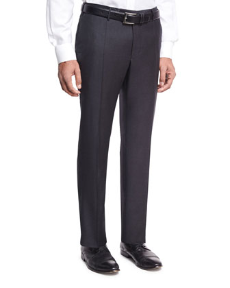 Super 150s Wool/Cashmere Trousers, Charcoal