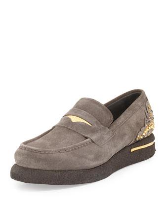 Men's Embellished Suede Platform Loafer, Gray/Metallic