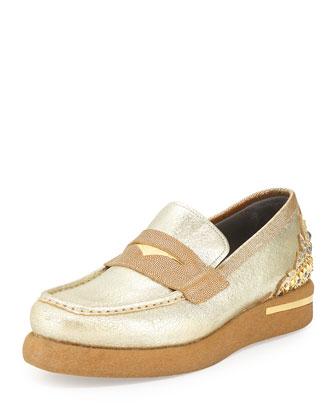 Men's Embellished Leather Loafer, Gold/Metallic