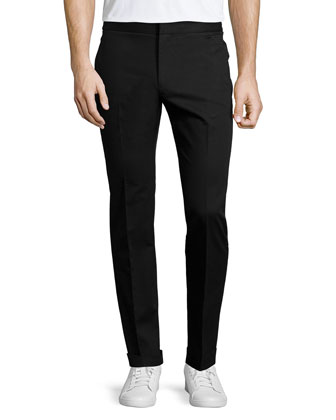 Slim-Leg Woven Trousers, Black