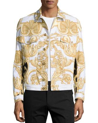 Long-Sleeve Printed Denim Jacket, White/Gold