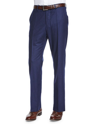 Wool/Cashmere Flannel Trousers, Navy
