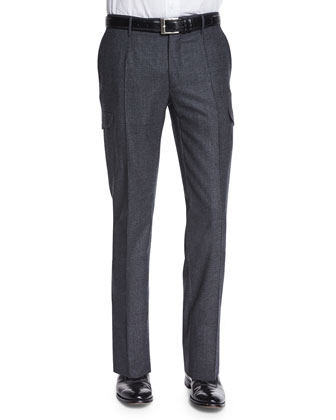 Donegal Flannel Cargo Trousers, Charcoal