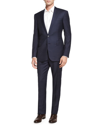 Anthony Windowpane Two-Piece Wool Suit, Navy