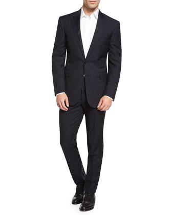 Anthony Tonal Herringbone Two-Piece Suit, Navy