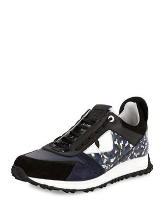 Granite Runner Spike-Back Leather Sneaker, Blue/Multi