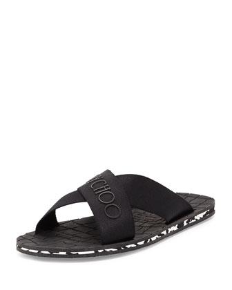 Clive Men's Rubber Crisscross Slide Sandal, Black/Malibu