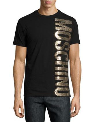 Gold-Sequin Logo Tee, Black