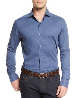 Baby Flannel Long-Sleeve Sport Shirt, Blue