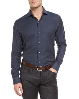 Baby Flannel Long-Sleeve Sport Shirt, Navy