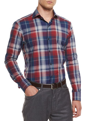 Square-Quilted Button-Down Shirt Jacket, Extra-Large Plaid Sport Shirt & ...