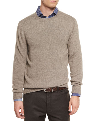 Melange Cashmere-Blend Sweater, Brown