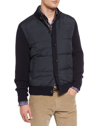 Cashmere-Sleeve Down Jacket, Navy