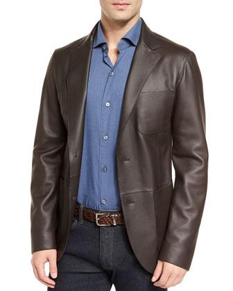 Deerskin Leather Two-Button Blazer, Baby Flannel Long-Sleeve Sport Shirt & ...