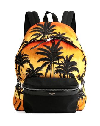 Palm Tree Printed Backpack, Multi