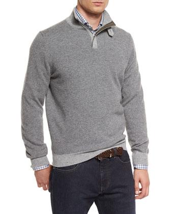 Diamond-Jacquard Quarter-Zip Pullover Sweater, Gray