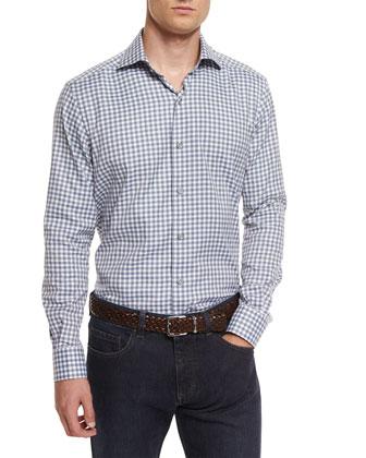 Check Flannel Long-Sleeve Sport Shirt, Blue