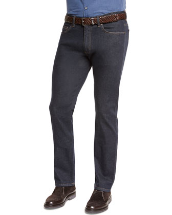 Five-Pocket Stretch Denim Jeans, Navy