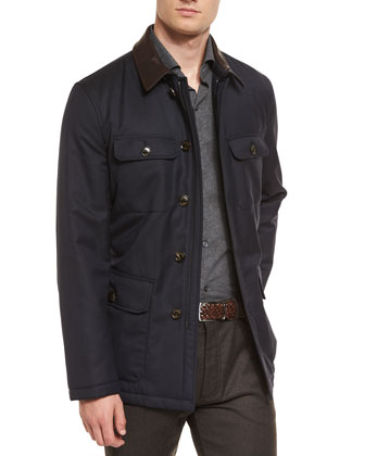 Wool Safari Jacket with Leather Collar, Navy