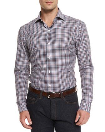 Open-Check Long-Sleeve Sport Shirt, Navy