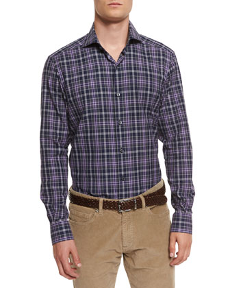 Brushed Melange Plaid Sport Shirt, Purple