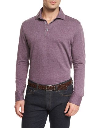 Cashmere-Blend Long-Sleeve Polo Shirt, Purple