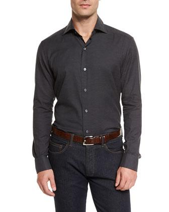 Solid Long-Sleeve Sport Shirt, Navy