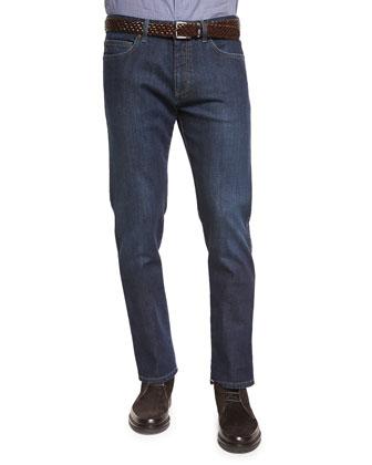 Five-Pocket Stretch-Denim Jeans, Navy