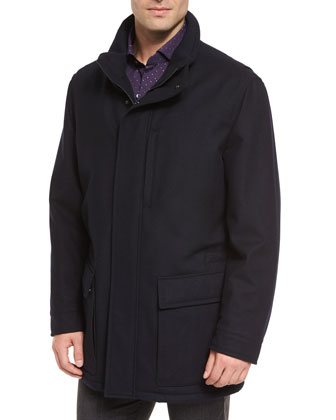 Wool-Cashmere Blend Zip-Up Jacket, Navy