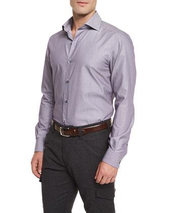 Geometric-Print Long-Sleeve Sport Shirt, Purple