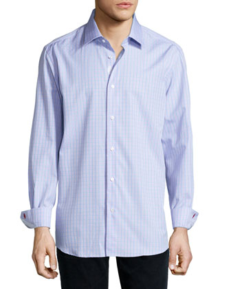 Ben Windowpane-Plaid Woven Shirt, Teal