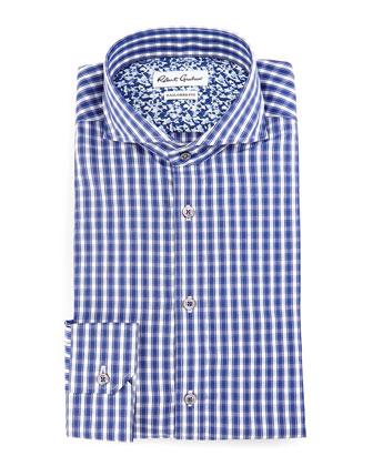 Firenze Trim Fit Checked Dress Shirt, Navy