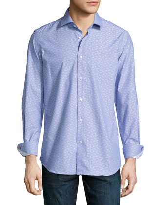 Gene Regular-Fit Paisley Dress Shirt, Navy