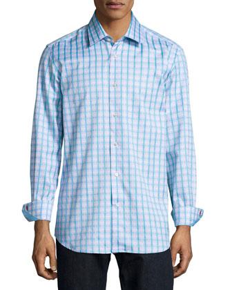 Orson Windowpane-Plaid Woven Shirt, Teal