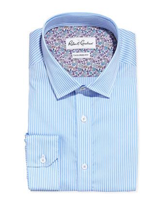 Torino Tailored-Fit Stripe Dress Shirt, Blue