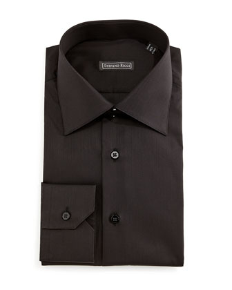 Solid Button-Down Dress Shirt, Black