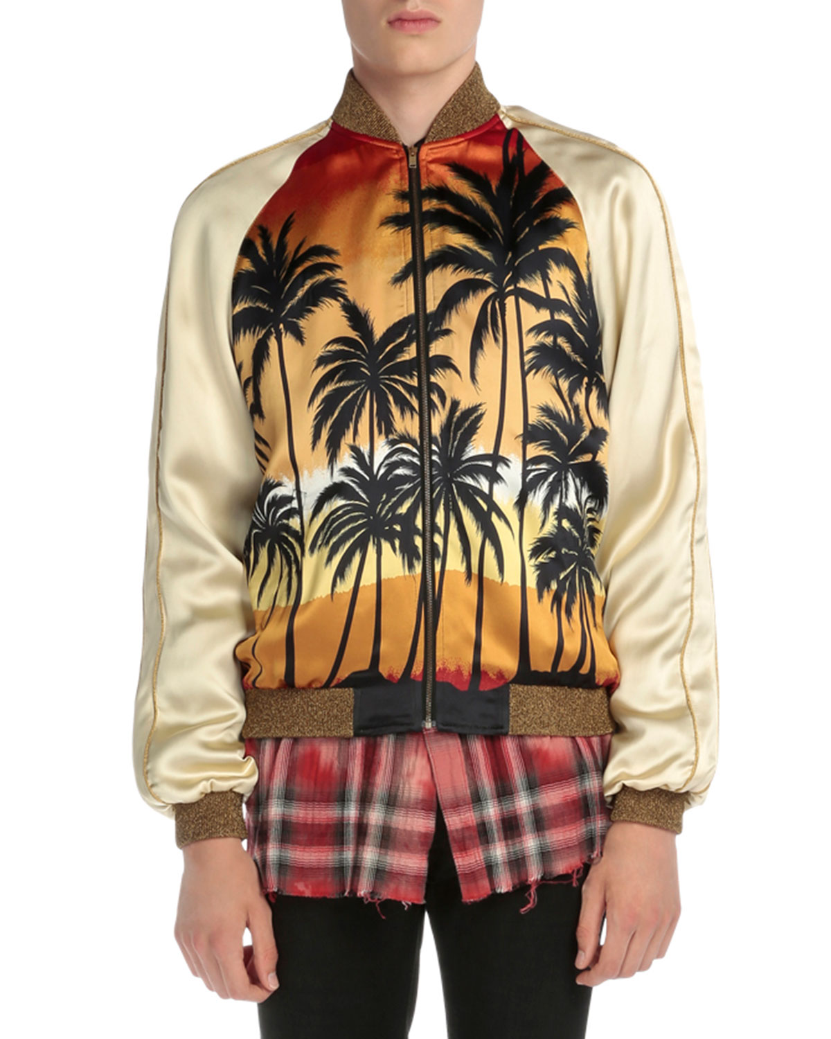 Palm Tree-Print Satin Bomber Jacket, Multi, Women's, Size: 50 - Saint Laurent