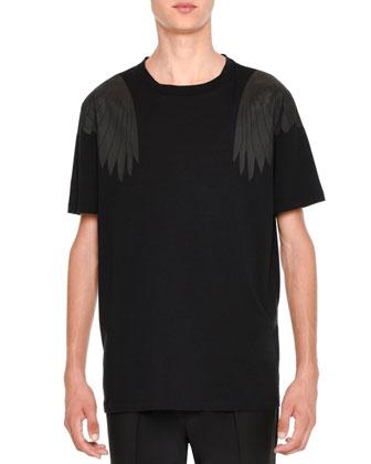 Rockstud Tonal Eagle-Wings Short-Sleeve Tee, Black