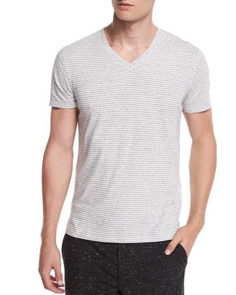 Feeder-Stripe Short-Sleeve Tee, Black/White