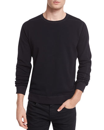 Reversible Faux-Sherpa Crewneck Sweater, Black