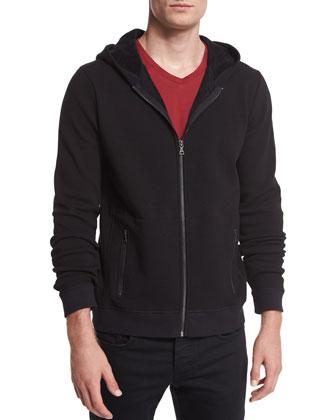 Faux-Sherpa Zip-Up Hoodie & V-Neck Short-Sleeve Jersey Tee