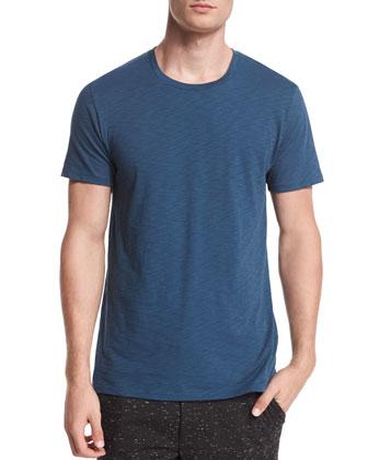 Slub Crewneck Short-Sleeve Tee, Dark Blue
